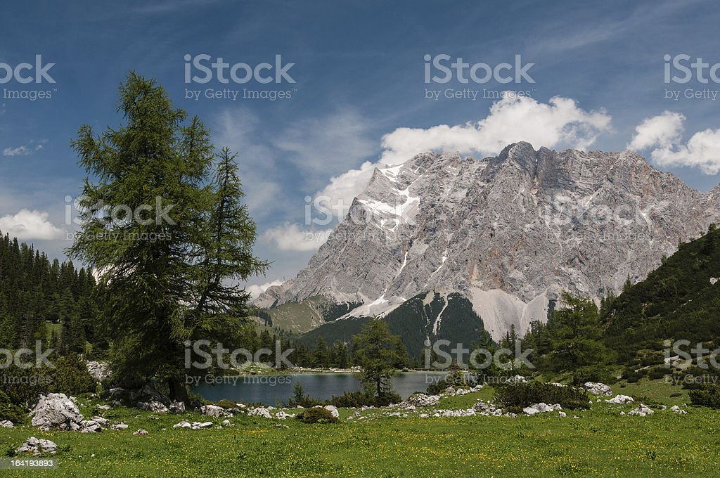 Lake Seebensee and Zugspitze royalty-free stock photo