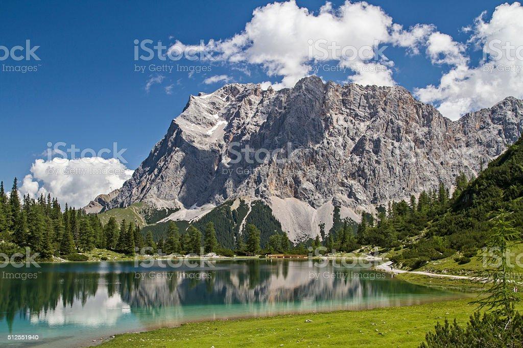lake Seeeben and Zugspitze stock photo