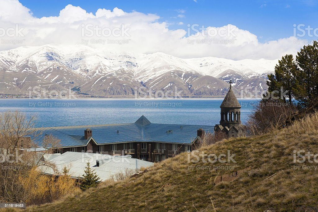 lake Sevan spring day stock photo