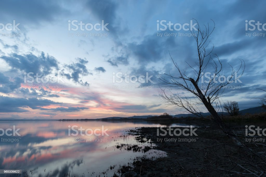 Lake shore at sunset, with perfect reflections of some red cloud royalty-free stock photo