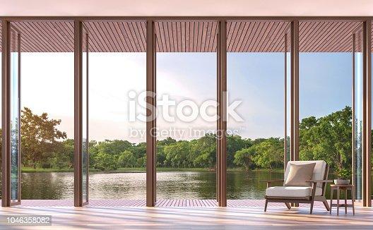1066863894 istock photo Lake side living room 3d render 1046358082