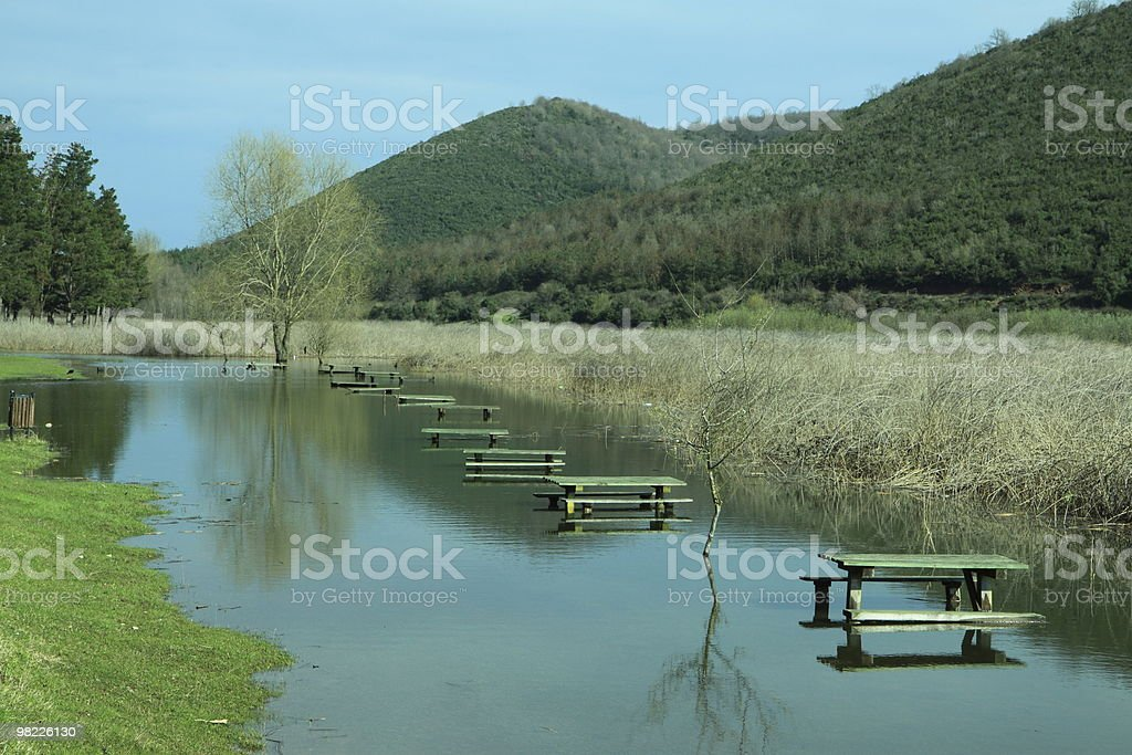 lake side picnic area royalty-free stock photo
