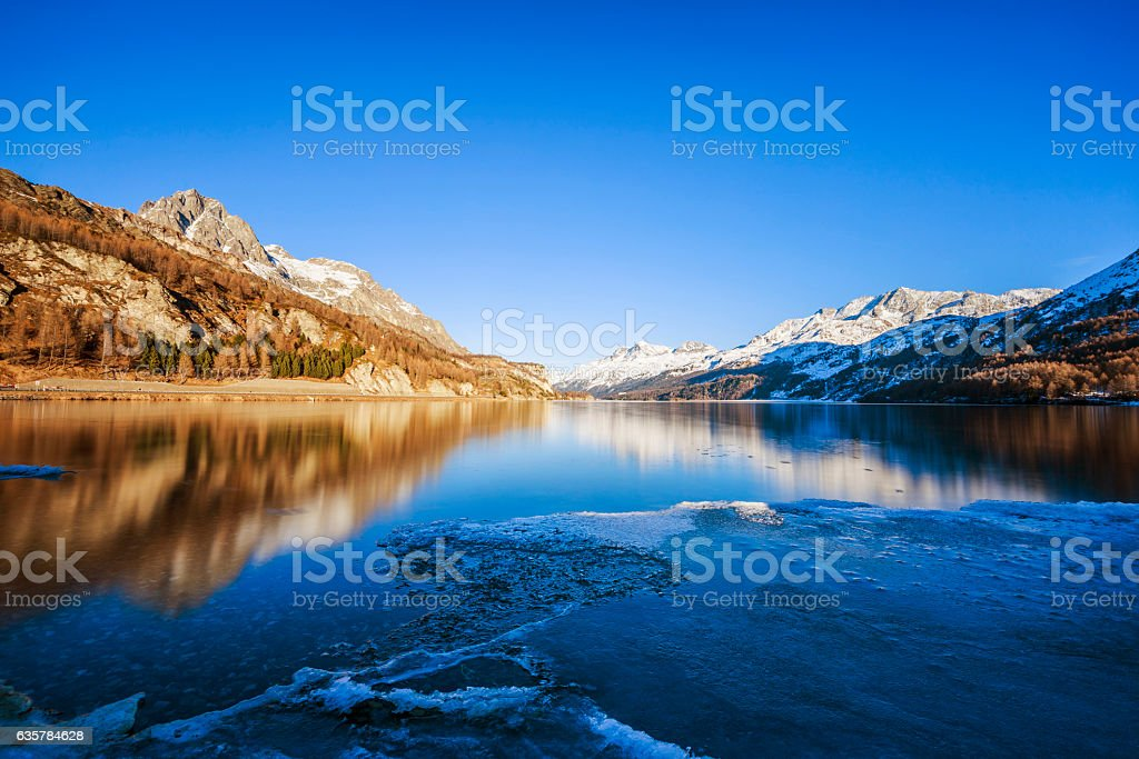 Lake Sils in Switzerland stock photo
