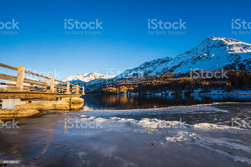 Lake Sils in Switzerland stock photo