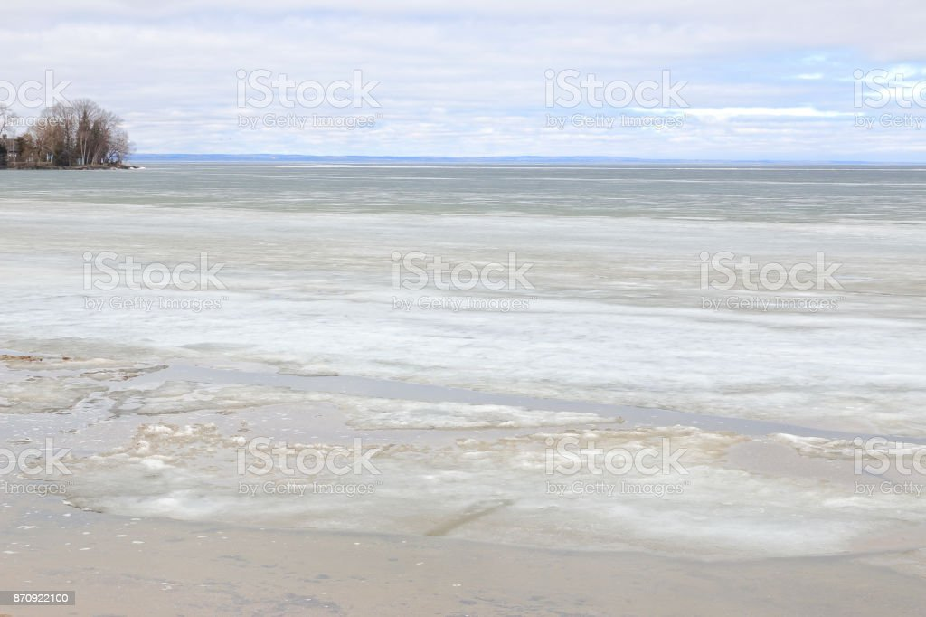 Lake Simcoe Frozen with Ice and Snow stock photo