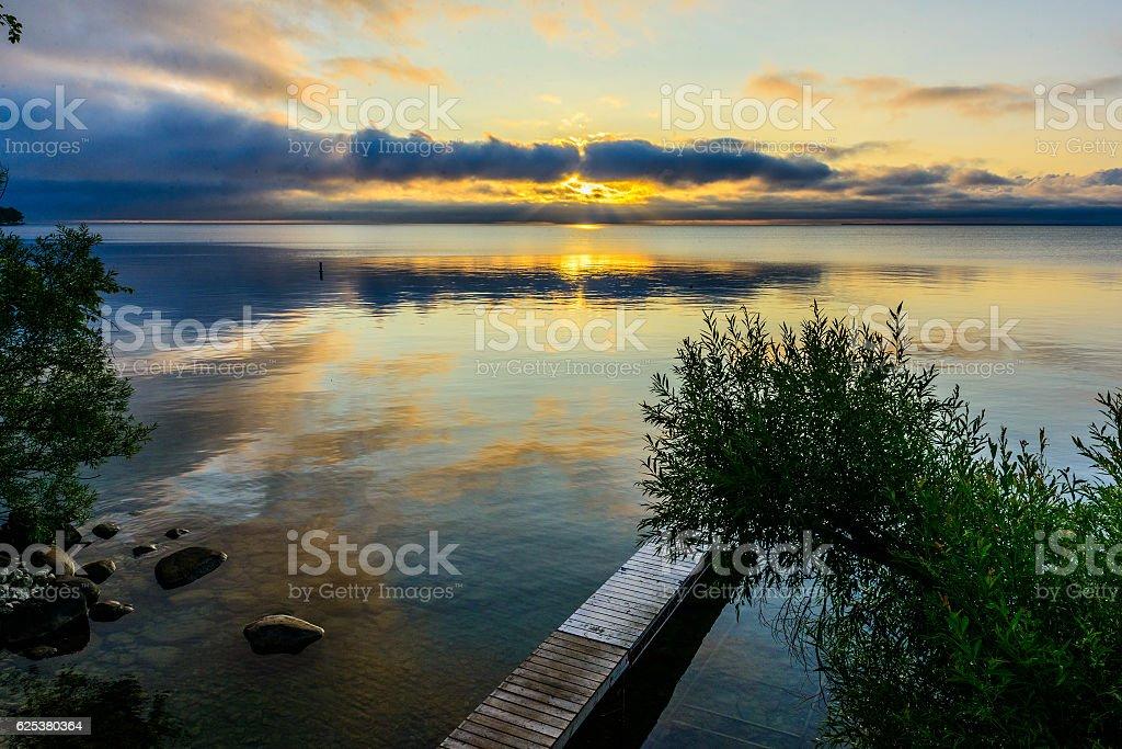 Lake Simcoe Sunrising stock photo