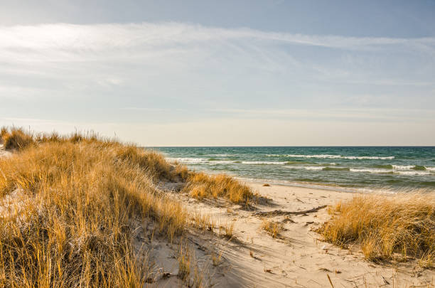 lake, sky, and dunes - lake michigan stock pictures, royalty-free photos & images