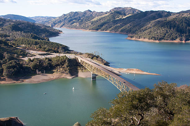 Lake Sonoma Reservoir, Sonoma County, Califorinia Lake Sonoma is a reservoir west of Healdsburg in northern Sonoma County, California.  Sunny day from overlook. sonoma stock pictures, royalty-free photos & images