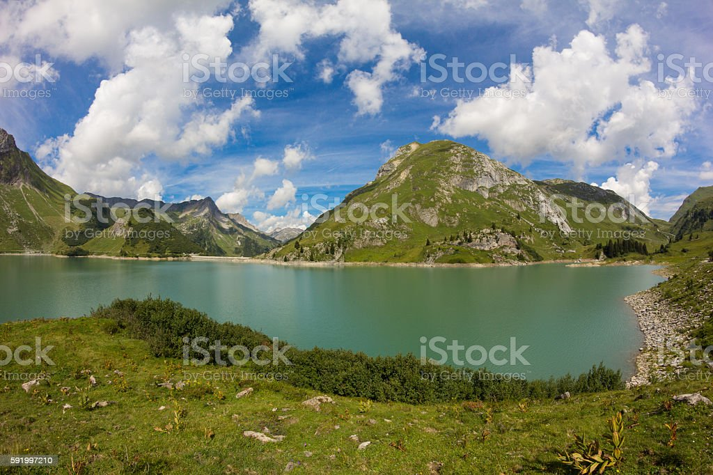 Lake Spullersee Panorama View In Vorarlberg Austria stock photo