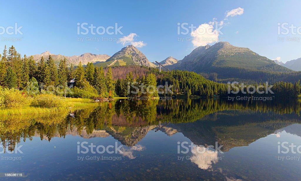 Lake Strbske pleso in Tatra mountain at sunset- Slovakia royalty-free stock photo