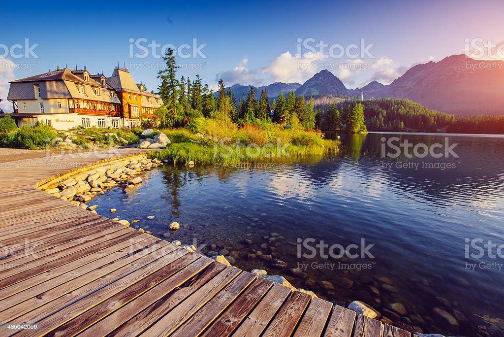 Lake Strbske pleso stock photo