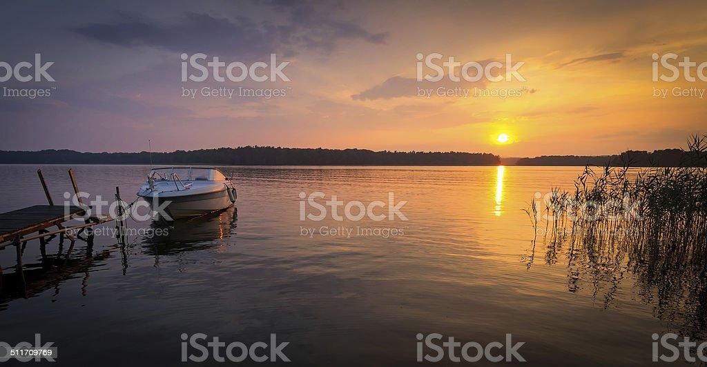 Lake summer sunset stock photo