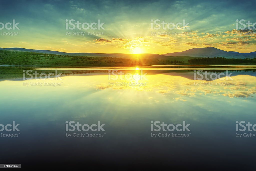 Lake sunrise stock photo
