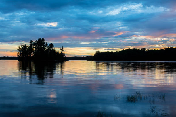 lake sunset - lakeshore stock photos and pictures