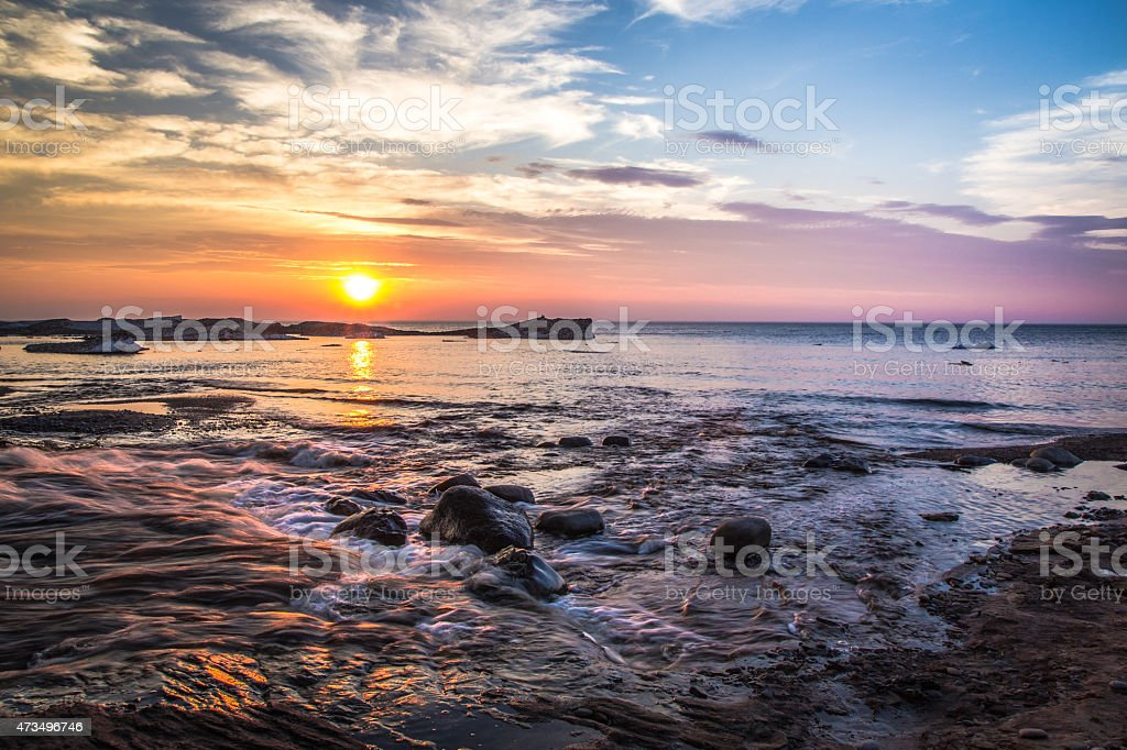 Lake Superior Beach At Sunset In Pictured Rocks National Lakeshore stock photo