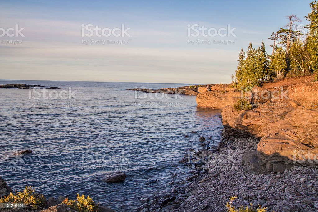 Lake Superior Coast With Sandstone Cliff stock photo