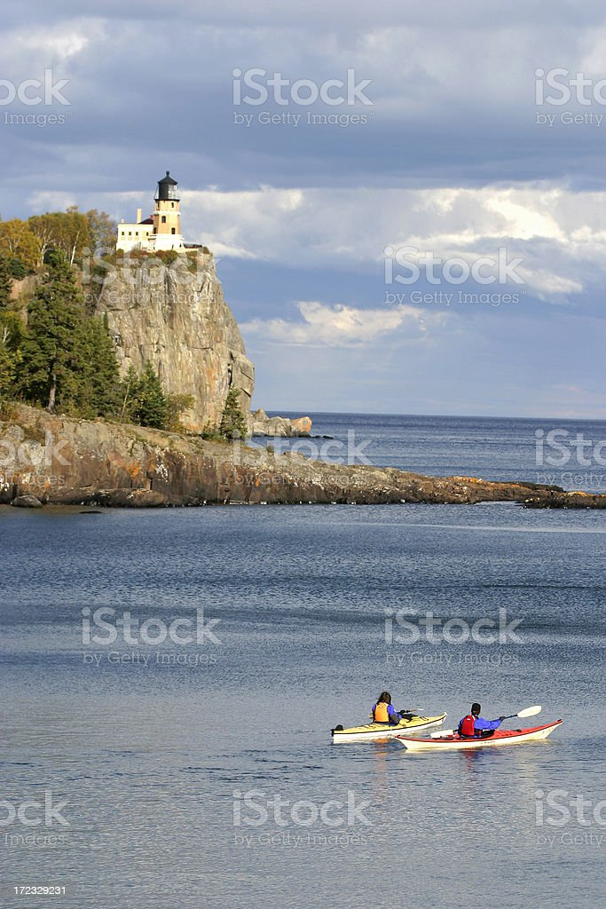 Lake Superior Kayakers. royalty-free stock photo