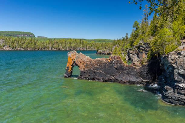 Lake Superior Rock Arch stock photo