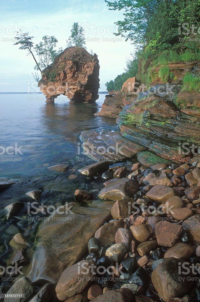 Lake Superior Seastack stock photo