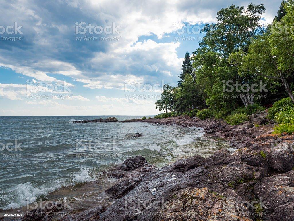 Lake Superior Shore in Lutsen 1 stock photo