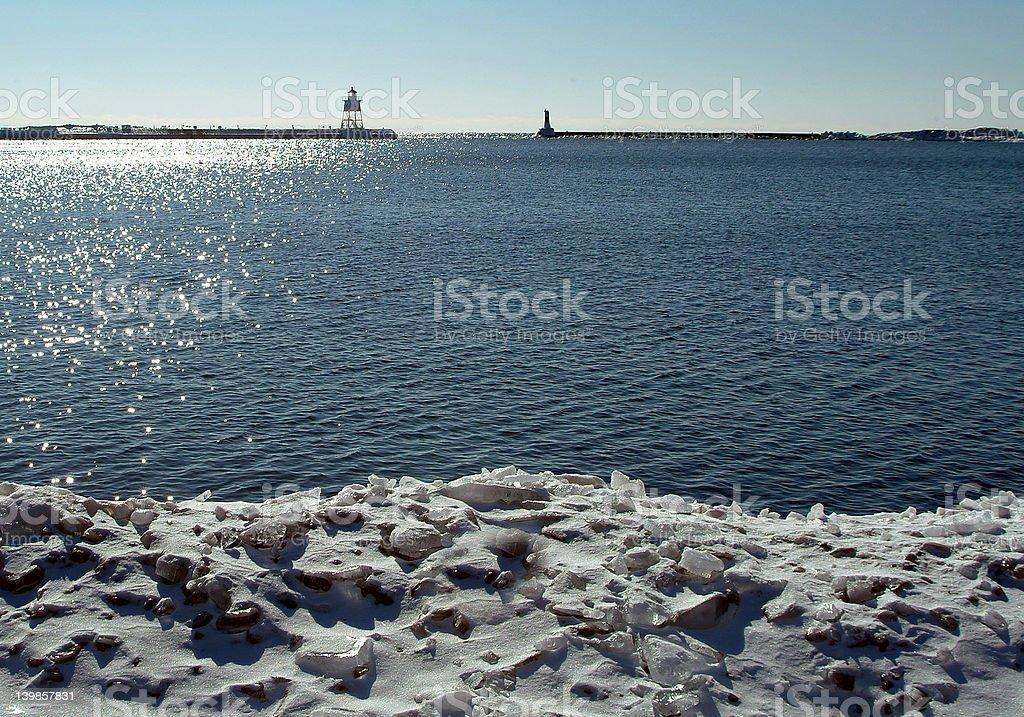 Lake Superior Winter Harbor royalty-free stock photo