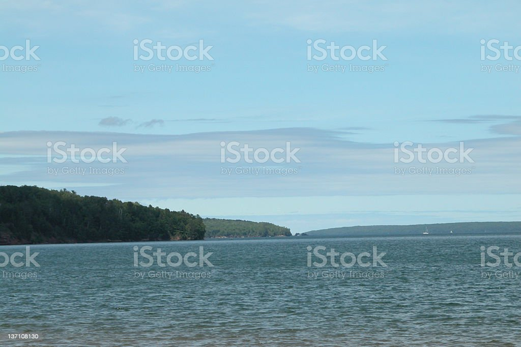 Lake Superior with islands in distance royalty-free stock photo