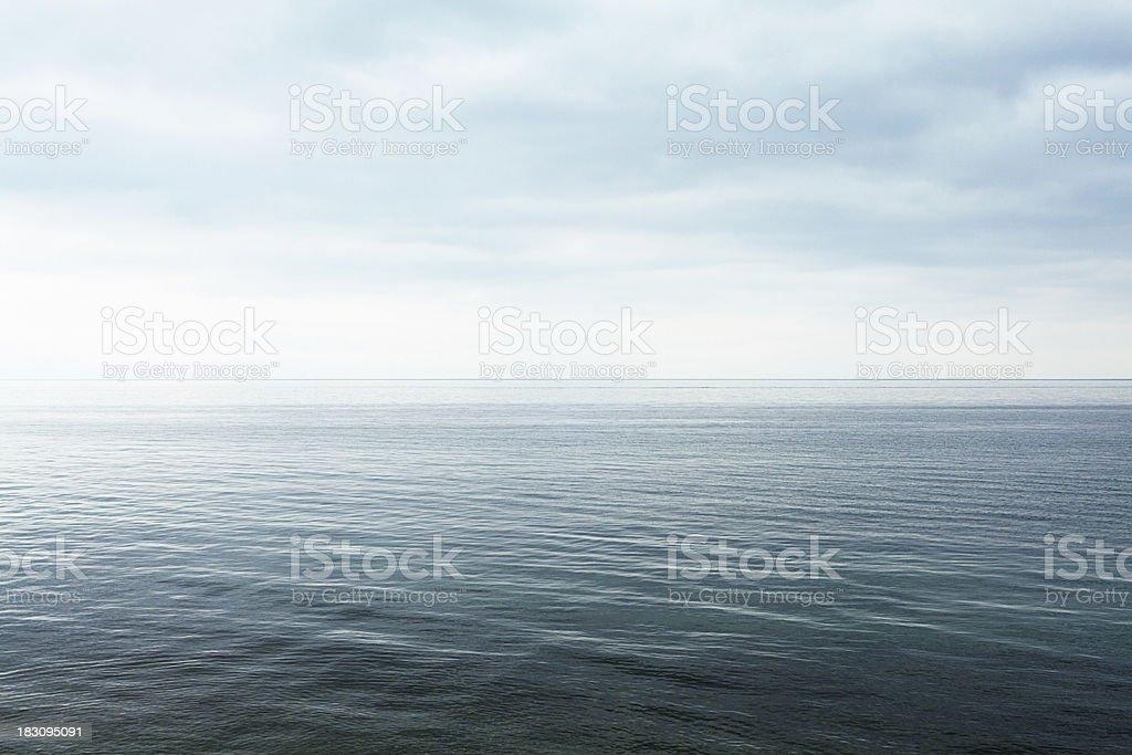 lake surface on the horizon stock photo