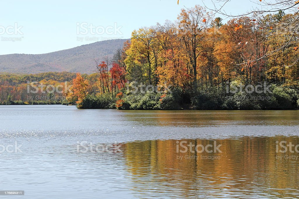 Lake Surronded with Autumn Color in the Appalachian Mountains stock photo