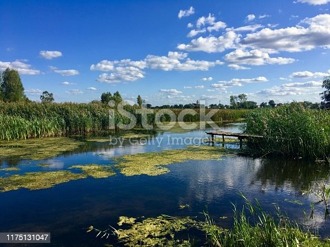 landscape of the lake, meadows and forest in Poland