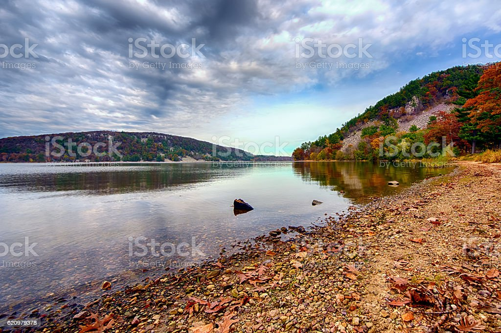 Lake surrouned by mountains stock photo