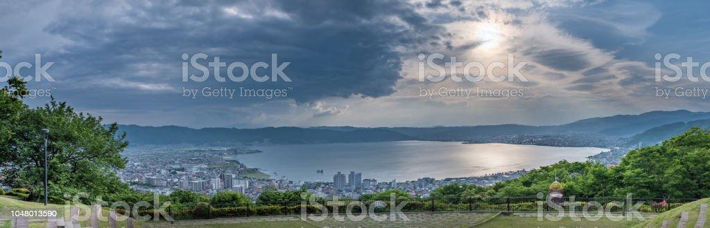 Lake Suwa sunset stock photo