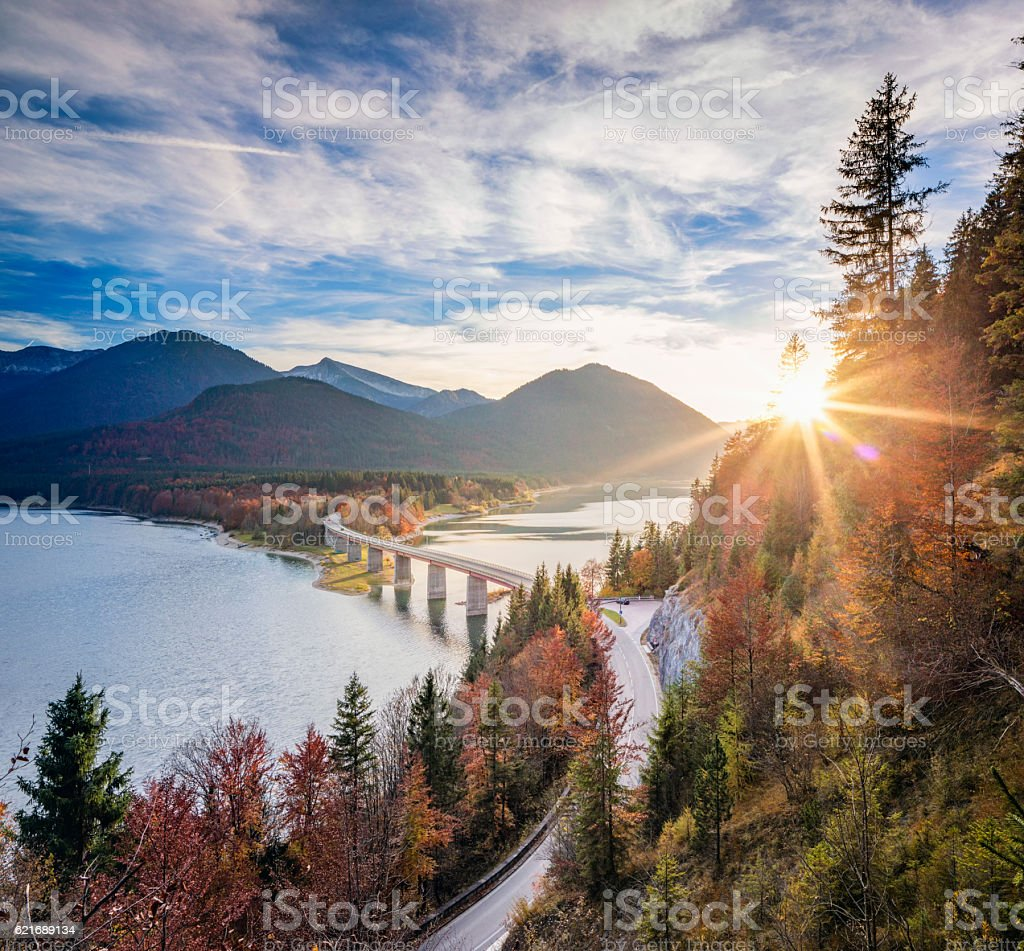 Lake sylvester - Sylvensteinspeicher at Autmun – Foto