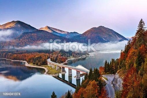 Autumn, Bavaria, Bridge - Built Structure, European Alps, Fog