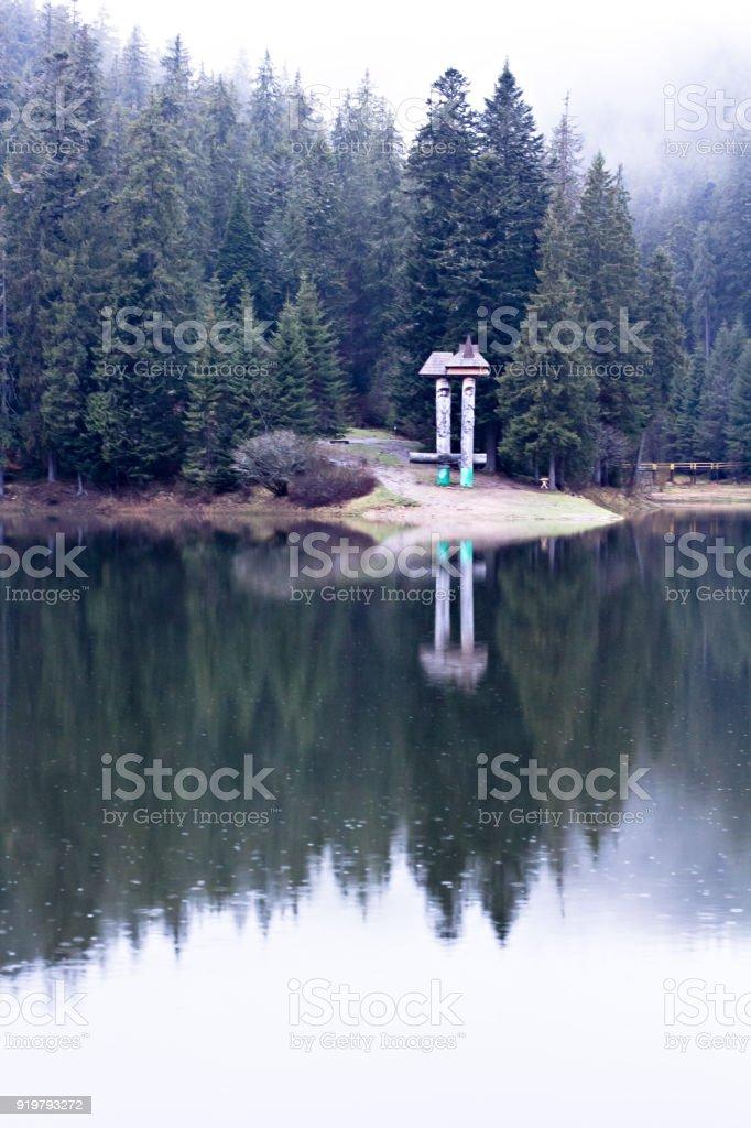 Lake Synevyr. stock photo