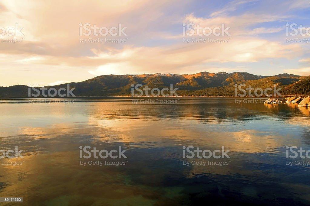 Lake Tahoe at sunset royalty-free stock photo