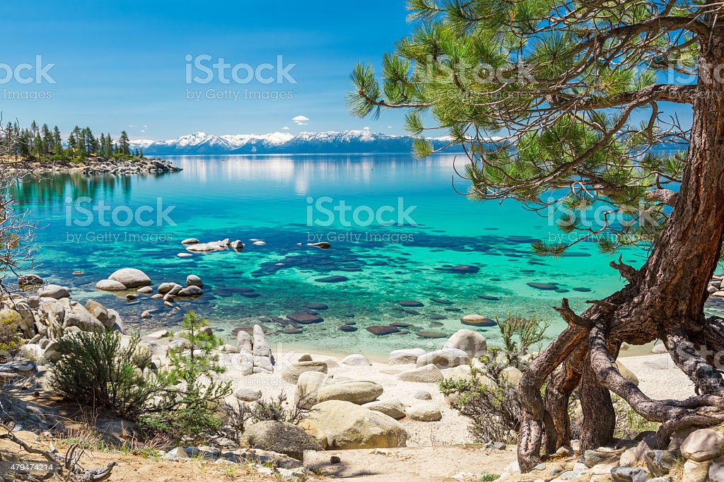 Lake Tahoe beach stock photo