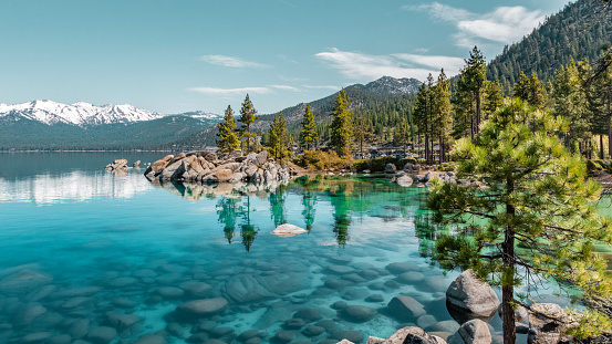 Clear blue Lake Tahoe water with pine trees and snowy mountains