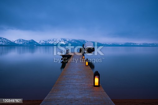 istock Lake Tahoe Dock at Dusk 1203497821