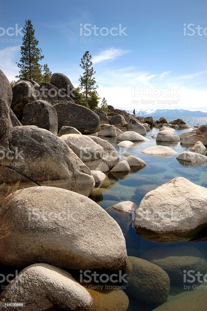 Lake Tahoe in Nevada with rocks royalty-free stock photo