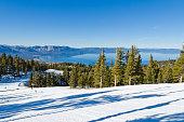 Famous Lake Tahoe winter landscape seen from ski resort
