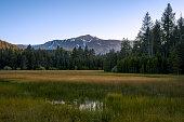 Sunset overlooking beautiful Tahoe meadow