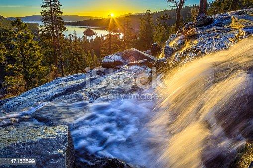 Lower Eagle Falls at sunrise on Lake Tahoe California