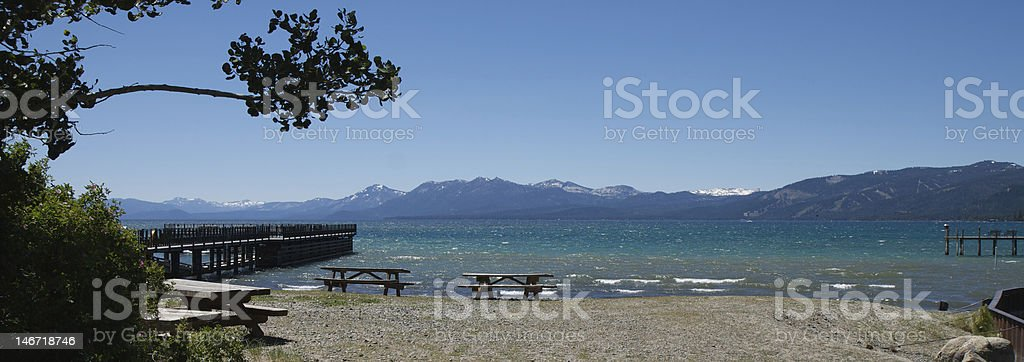 Lake Tahoe Picnic - Panorama stock photo