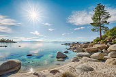 Lake Tahoe east shoreline, rocky beach in sunny day