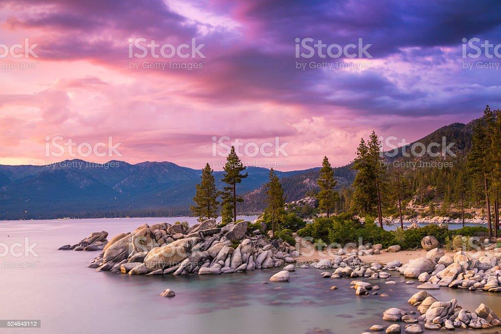 Lake Tahoe sunset stock photo