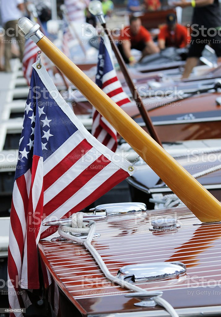Lake Tahoe: wooden boats with American flags stock photo