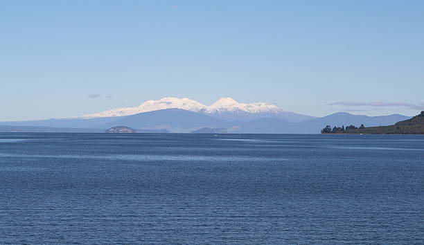 Lake Taupo during Winter. Mt Ruapehu is in the distance