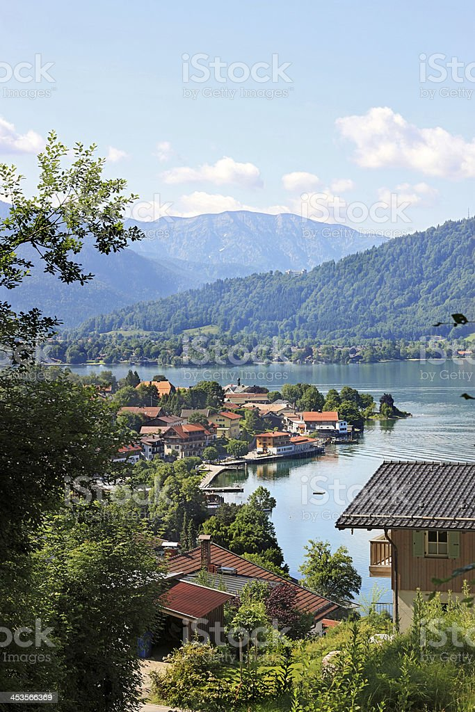Lake Tegernsee in the Bavarian Alps stock photo