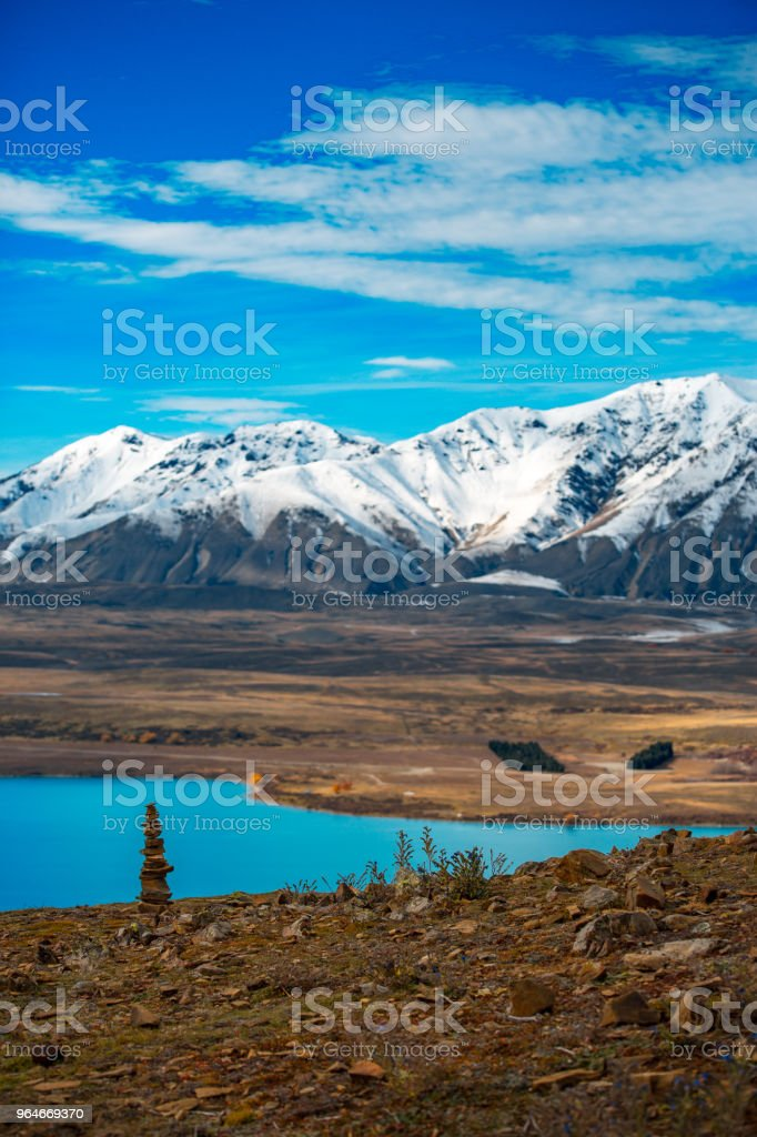 Lake Tekapo autumn view lookout from Mt. John royalty-free stock photo