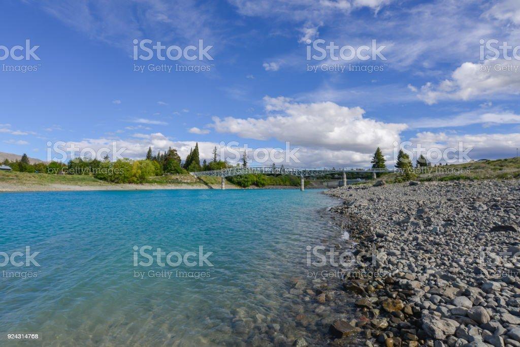 Lake tekapo bridge in New Zealand stock photo